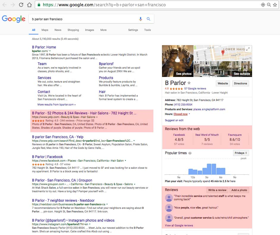Reviews from around the web in the Google Knowledge Panel